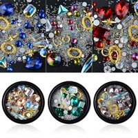 Wholesale Nails Accessories 3d Metal - 6 Style Mix Shape Nail Art Decorations Irregular Crystal Diamonds Mermaid Beads Golden Metal Frame 3d Manicure Accessory New Hot