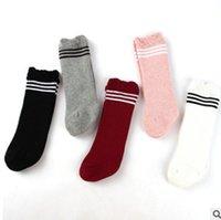 Wholesale Little Boys Socks - Winter baby thicken socks newborn little girls boy ruffle stripe knitting socks toddler toddler cotton soft sock baby warmer leg R1060