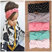 bebek düğüm kravat baş bantları toptan satış-5 renk Bebek Çocuk Knot Headbands Örgülü Headwrap Polka Dot Cross Knot Bebek Türban Kravat Knot Head wrap Çocuk Saç Aksesuarları B237