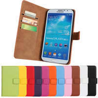 Wholesale Galaxy Mega Leather - Book Style Case For Samsung Galaxy Mega i9200 6.3 Genuine Leather Wallet with Stand Card Holder Drop Ship