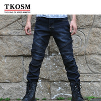 TKOSM NEW Winter Plus Velvet Warm Off-road Outdoor Jeans Motorcycle Riding Pants Waterproof Protecting Knee Locomotive Pants