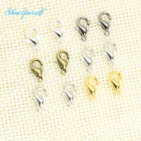 bronz mücevher bağlantıları toptan satış-10mm Gümüş Bronz Altın Kaplama Istakoz Tetik Pençe Klipsler Bağlayıcı Takı DIY Takı Bulguları için Karışık Renk 100 adet / grup