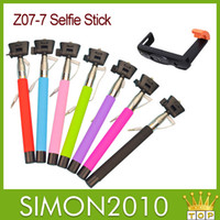 Wholesale Connecting Phone Wires - Selfie monopod camera sticker Z07-5 plus z07-7 cable jack port connect for iphone samsung smart phone remote selfie kits with L holder