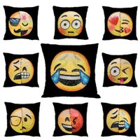 Wholesale White Pillows Crochet - Double Color Emoji Sequins Pillow Case Poop Pillowcase Emoji Mermaid Cushion Pillow Covers Home Sofa Car Decor Cushion Gifts 40*40cm SF42