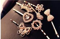 Wholesale Hair Bows Pearls - New Women Pearl Alloy Hair Clips Rhinestone Bow Floral Heart Crown Hair Pin Girl's Fashion Hair Accessories