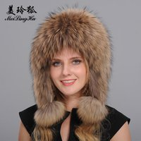 Wholesale Lei Feng Hat - Wholesale- Women Genuine Fox Fur Hats Caps Female Bomber Hat Trendy Lei feng Hat for Russian Women Real Fox Raccoon dog Fur Hat Tops Winter