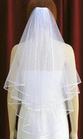 Wholesale Embroider Pearl - Free Shipping 2015 White Ivory Bridal Veils 2 Layers With Comb Pearls Ribbon Edge Tulle Veil for Church Wedding Bride In Stock 1.99