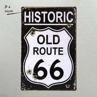 eski metal dekor toptan satış-DL-Düğün dekorasyon! I HISTORIC OLD ROUTE 66 Metal Plak Duvar Dekor Boyama SANAT bağbozumu Ev Bar Kalay İşaretler