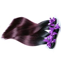 Wholesale 3 bundles of brazilian hair for sale - Ombre Bundles of Hair Brazilian Straight Hair Bundles B J Burgundy Two Tone Human Hair Thick Weft or Bundles