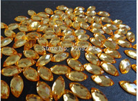 Wholesale Navette Flatback Rhinestones - Wholesale-600pcs 6*12 light gold Sew On Acrylic Crystal Rhinestone Navette Shape Flatback m015