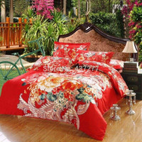 Wholesale Romantic Reversible Bedding - Romantic flower wedding cotton bedding set bedspreads on queen king beds with reversible duvet cover lace sheet 4 5pc bed sets