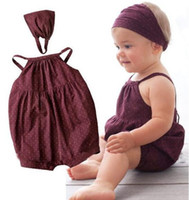 Wholesale Tutus Bebe - Hot selling baby girl clothes Deep red harnesses+Head belt 2 pcs bebe newborn Summer baby clothing set hight quality free shipping