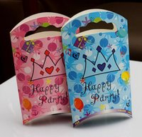 Wholesale Gift Wrapping Paper Cartoon - Mix 2 style 2015 Happy Birthday Party Candy Bag Crown Cartoon Gift wrapping Bag Tote Bag Paper Gift Bag Handbag PA01