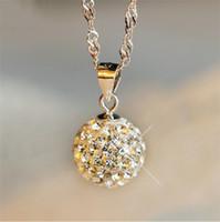 kolye topu pırlantaları toptan satış-Yeni moda kısa Parlak Kolye Gümüş Kristal tam diamonds yuvarlak top Kolye Zincirler Takı Kadınlar için Nişan Hediye Aksesuarları