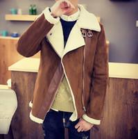 Wholesale Mens Leather Jacket Fur Coat - Fall-Oblique zipper mens fur coats berber fleece liner suede fabric wadded jacket mens teenage leather clothing cotton-padded coat