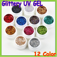 Wholesale Nail Glitter Colours Powder - Wholesale-12pcs set Glittery UV GEL Extension DIY Builder Nail Art glitter powder Pure Colour uv gel Builder Gel for nail art Wholesale