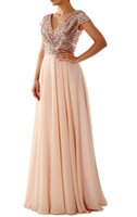 Wholesale Hot Pink Bridesmaid Gowns - 2017 Hot Sale Cap Sleeves V Neck Sequin Chiffon Rose Gold Bridesmaid Dress Long Wedding Party Gowns