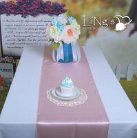 Wholesale Cheap Wedding Satin Table Runners - AAA Fashion Pink Satin Table Runners Wedding Table Centerpieces Cloth Supplies 30*275 cm Free Shipping Cheap Sale