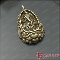 Wholesale Thailand Amulets - (27870)Jewelry Findings,Charms,Pendants,35*22MM Antique Bronze Alloy Thailand Amulets - Elephant 10PCS