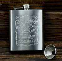 Wholesale Shot Bottles - Hot New 7oz Stainless Steel Pocket Flask Russian Hip Flask Male Small Portable Mini Shot Bottles Free Shipping