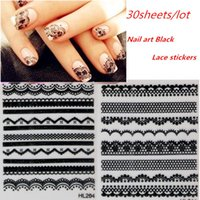 Wholesale Gel Art Stickers - 30sheets Mixed NEW 3D French Black Lace Flower Nail Art Sticker Decal Nail Stickers Nail Art Decoration for Gel Nails