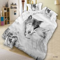 Wholesale Wolves Bedding - Home Textile 3D Print Wolf Bedroom Furniture Queen Size 4PCS Polyester Bedding Set Quilt Cover Bed Sheet 2*Pillowcase