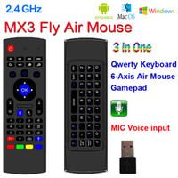 3d klavye toptan satış-X8 2.4 Ghz Kablosuz Klavye MX3 6 Eksen Mic Ses ile 3D IR Öğrenme Modu Fly Hava Fare Android TV için Uzaktan Kumanda Akıllı TV Kutusu