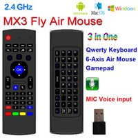 ingrosso android tv mic-X8 2.4Ghz Wireless Keyboard MX3 con 6 Axis Mic Voice 3D IR Modalità di apprendimento Fly Air Mouse Retroilluminazione Telecomando per Android Smart TV Box
