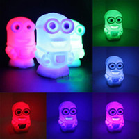 Wholesale Minion Lights - New Lovely Color Changing Colorful Night Light Lamp Toy Despicable Me 2 Minions Toy Gift Colorful Light Free Shipping