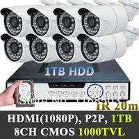 Wholesale 8ch Dvr Mobile Audio - 1000TVL CMOS Built-in IR-Cut Outdoor CCTV bullet Cameras System w 1TB HDD 8CH 960H DVR P2P plug and play video audio mobile view