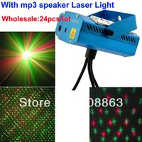 Commercio all'ingrosso versione 24pcs / lot mini altoparlante di musica Mp3 RG distanza laser luce del proiettore DJ party Disco Bar di Natale a casa della fase del partito L15