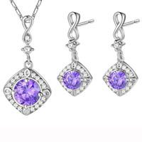 Wholesale wonderful earrings - Wonderful earrings!New Season Hip Hop Stylish shiny Purple Cubic Zirconia and green topaz earrings 925 silver 2pcs lot