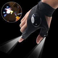 Wholesale Right Handed Glove - 1 Piece Right Hand Left Hand Party Gloves with LED Light Hunting Outdoor Fingerless Fishing Camping Hiking Survival Gloves