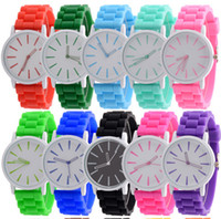 Wholesale Wholesale Men Mechanical - Christmas gift candy colors women men Genneva watch Silicone Rubber Hollow out needle watches jelly candy fashion students wristwatches