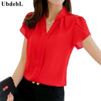ingrosso corpo bianco coreano-All'ingrosso-UbdehL camicetta da donna di marca camicetta a maniche corte scollo a V bianco rosso rosa blu estate autunno abbigliamento femminile coreano abbigliamento da lavoro top