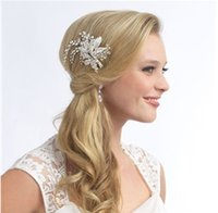 Wholesale Crystal Beads Hair Pin - Charming 2015 White Bridal Comb Crystal Beads Flower Headpieces Hair Pin Wedding Tiaras Bride Accessories Jewelry For Ladies