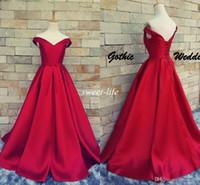 topuklu kırmızı halı toptan satış-AH009 Gelinlik Modelleri Balo Ucuz Seksi V Yaka Lace Up Backless Kemer 2019 Vintage Parti Abiye giyim Kırmızı Halı Örgün Elbiseler