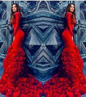 vestidos de noche rojos ajustados al por mayor-Increíbles pétalos rojos Trailing vestidos de noche 2016 Crew manga larga Slim Fit vestidos de baile Lace Up Back Sweep Train Celebrity vestidos formales