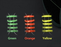 Wholesale Silicone Flat Pair - 2015 New creative glow in dark lazy shoe laces colorful silicone shoelaces no tie V tie shoe laces one pair shoe need 12pc
