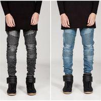 Wholesale Jogger Pants For Men Style - Hi-Street Mens Biker Jeans Motorcycle Slim Fit Washed Black Grey Blue Moto Denim Pants Joggers For Skinny Men AY724