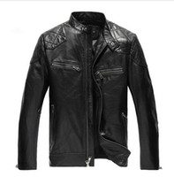 Wholesale genuine leather jackets sale - Wholesale- Hot Sale Leather Jacket Men Windproof Coat Stand Collar Slim Fit Mens Motorcycle Leather Jackets chaqueta cuero hombre
