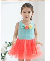 Wholesale Fasion Clothes - Wholesales 2015 party dress girls clothing summer new children girls lace vest tutu fasion princess