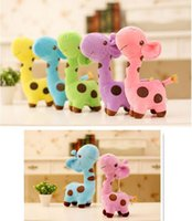 Wholesale Giraffe Soft Toy Plush - 20 pcs lot 2016 NEW 18cm Plush Giraffe Soft Toy Animal Dear Doll Baby Kid Child Birthday Happy Gift 6 Colors for choices