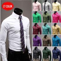 Wholesale Dresses Xx - 2016 New Fashion Top Quality Mens Slim fit Unique neckline stylish Men's Dress long Sleeve Shirts Mens dress shirts size: M-XX