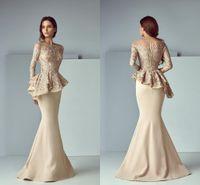 vestidos de vestimenta formal de azul royal venda por atacado-Laço de champanhe Mancha Peplum Longo Vestidos de Noite Formal Vestidos 2019 jóia Long Neck Sleeve Dubai Sereia Árabe Vestido de Baile Saiid Kobeisy