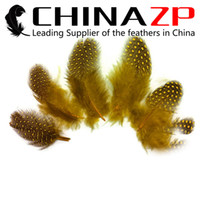 Wholesale Quality China Party Decoration - Gold Manufacturer China ZP Crafts Factory 500pcs lot Top Quality Dyed Yellow Polka Dot Guinea Hen Plumage Feathers