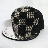 Wholesale Women Punk Hats Spikes - fashion New hot Bigbang jazz hat baseball cap Men  Women Spike Studs Rivet Cap Hat Punk style Rock Hiphop For Pick