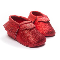 Wholesale baby sock shoe wholesale for sale - New Year Baby Girl Shoes Party Bling Baby First Walkers Children s Moccasins pairs Tassel Leather Shiny Toddler Fringe Sock