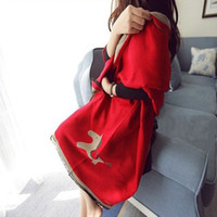 Wholesale long double sided shawl wrap - 2015 Winter New Lovely Horse Pattern cashmere scarves women's shawl double-sided dual Pashmina Long Wraps 190x65cm