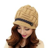 Wholesale Cute Baggy Women - S5Q Women Beanie Knitting woolen yarn cap Warm Winter Rageared Baggy Crochet Caps Cute Skiing Hat AAADYW